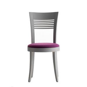 Vienna 01312, Silla de madera maciza, asiento tapizado, cubierta de tela, para el uso del contrato