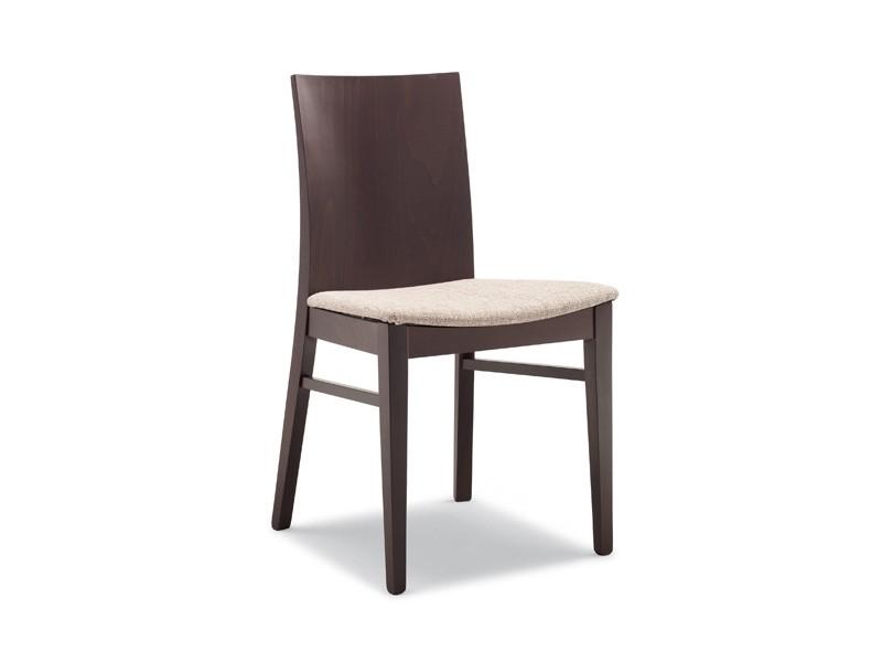 Silla en madera de haya, asiento tapizado, para el uso del ...