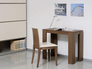 Complementi Sedia 04, Silla con asiento acolchado y respaldo de madera maciza