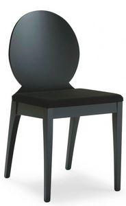 D08, Silla de madera con asiento acolchado, revestimiento de tela, para el uso del contrato