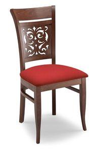 Gloria PANT, Silla acolchada con respaldo de madera perforada
