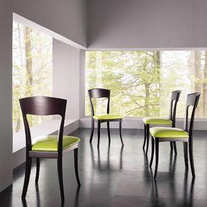 LAURA, Silla de madera de haya, asiento tapizado, para la barra moderna