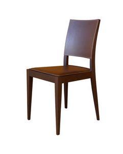 M17, Silla en madera de haya, asiento y respaldo tapizado en piel