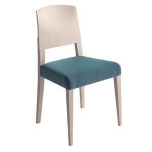 Piper 00811, Silla de madera maciza, asiento tapizado, cubierta de tela, estilo moderno