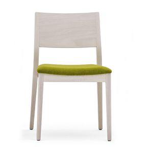 Sintesi 01511, Silla de madera maciza, asiento tapizado, estilo moderno