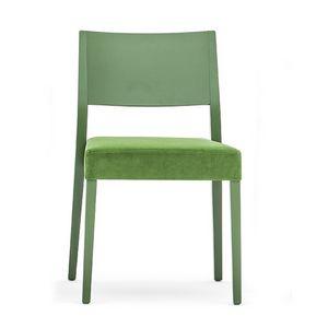 Sintesi 01513, Silla de madera maciza, asiento tapizado, estilo moderno