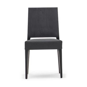 Timberly 01711, Silla apilable, estructura de madera maciza, asiento tapizado, tapicería de cuero, para los comedores