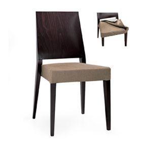 Timberly 01713, Silla apilable, estructura de madera maciza, asiento tapizado para los comedores
