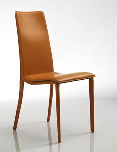 Cora, Silla cómoda, en piel de naranja, para el restaurante y el hotel