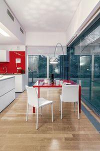 DALILA, Silla de comedor en metal y cuero, simple, sala de estar