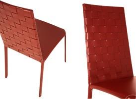 Jenia high woven, Silla de cuero, en acero y caucho, para la sala de estar