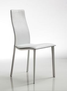 Lulu, Silla elegante, tapizado en cuero blanco, con asiento ondulado