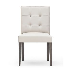 Zenith 01619, Silla de madera maciza, asiento y respaldo tapizados, acolchado atrás, tapicería de cuero, para los comedores