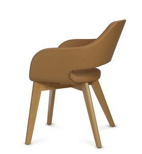 NUBIA 2208, Silla de cuero con patas de madera.