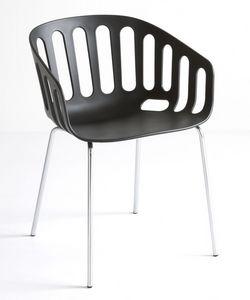 Basket Chair NA, Silla con base de metal, asiento de tecnopolímero