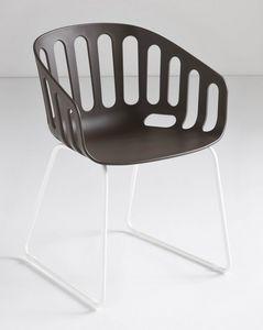 Basket Chair ST, Silla con base de metal trineo, cubierta de polímero
