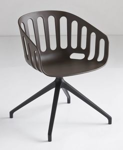 Basket Chair U, Silla giratoria con base de metal, que se sienta en el polímero, para la oficina