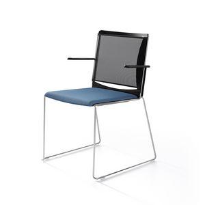 Multi mesh, Silla patín base en metal pintado, respaldo de malla, asiento de polipropileno