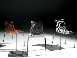 Wave chair, Silla de metal, asiento en tecnopolímero, apilable