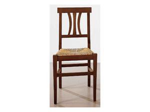 112, Silla de comedor de madera maciza, asiento de paja