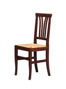 186, Rústica silla en madera de haya, asiento de paja, para bares