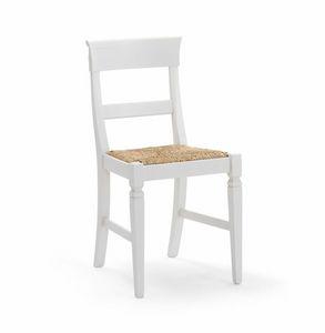 IMPERIALE 700, Silla blanca con asiento de paja