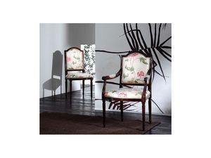 CARMEN chair 8249S, Silla de madera acolchada, de estilo clásico