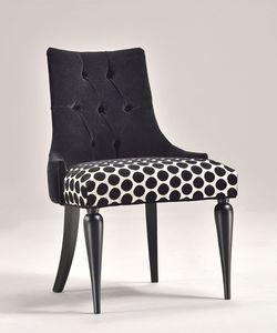 MARGOT silla 8359S, Silla clásica contemporánea, asiento tapizado, en madera de haya