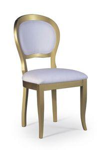 Marylin, Silla de estilo clásico en madera con asiento y respaldo acolchado