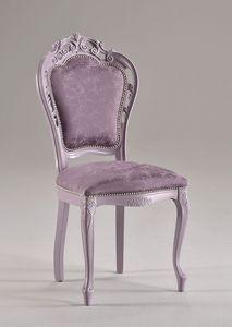 TRAFORATA chair 8262S, Silla de estilo clásico de madera de haya maciza, tapizada