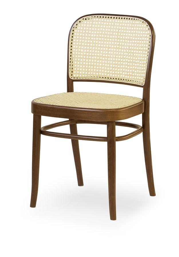 06, Silla de madera con asiento y respaldo de la caña
