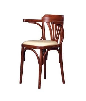 130, Silla con brazos, en madera de haya curvada, asiento tapizado