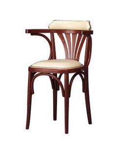 134, Silla con brazos, madera curvada, de estilo rústico