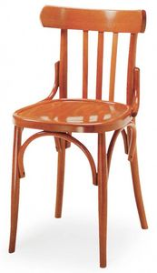 B07, Silla de madera curvada, respaldo con diseño vertical, ideal para bares y pubs