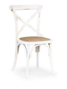 Ciao Imb Antique white, Silla de madera curvada, asiento de paja tejida