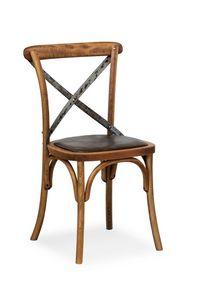 Ciao Iron, Silla en madera de haya maciza, asiento de cuero de imitación