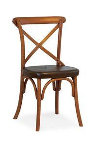 Ciao TI, Silla en madera de haya, asiento cubierto en piel sintética