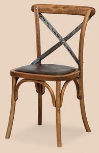 SE 431 / M, Silla con asiento acolchado, en madera curvada