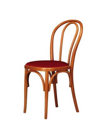 V01, Silla de madera curvada, asiento tapizado, estilo vienés