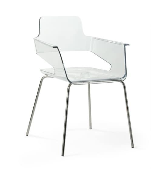 B32 4L, Silla con cáscara de nylon, de diseño contemporáneo, base de metal