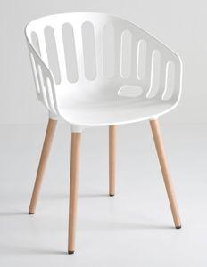 Basket Chair BL, Silla con patas de madera de haya, cubierta de polímero