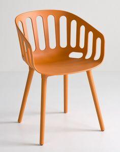 Basket Chair BP, Silla de diseño de polímero para bares y restaurantes