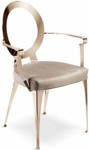 Miss silla con reposabrazos y respaldo descubierto, Silla con brazos y respaldo perforado