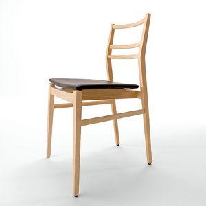 Già R/SU, Silla de diseño, asiento tapizado, listones horizontales respaldo