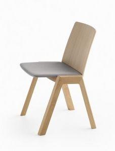 Kira RS/SU, Silla apilable de madera, con asiento acolchado