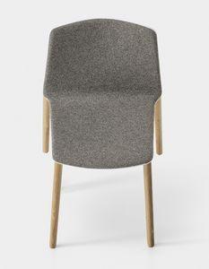 Rama Wood Base padded, Silla tapizada de diseño con patas de madera