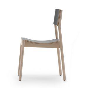 Maki 03714 - 03715, Silla de madera con asiento curvo