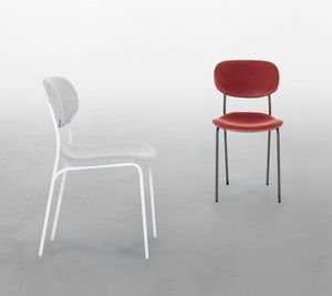 BIKINI, Silla en metal lacado, con asiento tapizado