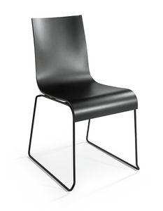 2001 R VS, Silla apilable en acero cromado, asiento de madera