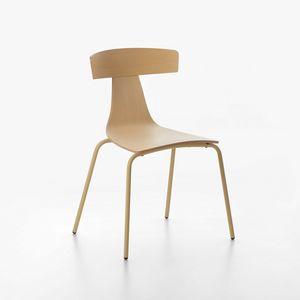 Remo mod. 1416-20, Silla de metal, apilable, asiento y respaldo de madera contrachapada